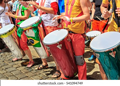 The unidentified samba musician participates at the annual samba festival