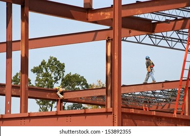 Unidentified steel workers on construction site
