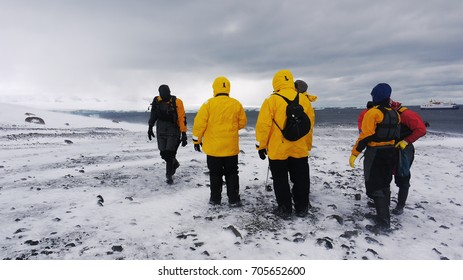 Unidentified tourists standing in cold snow and wind of Antarctic peninsula, with cruise ship in the background.