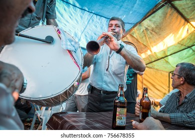 Unidentified Turkish Gypsy nomadic people performing music,dancing and singing in tent restaurant at Pavli Fair Festival in Kirklareli,Turkey 19 October,2017