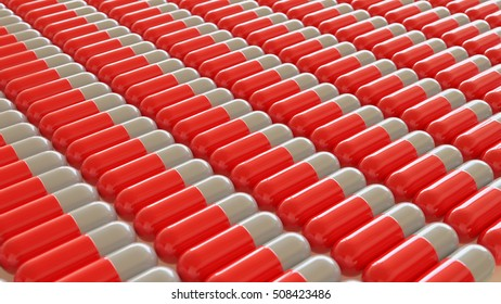 Uniform Array of Red and White Pills. This image is a 3D illustration.