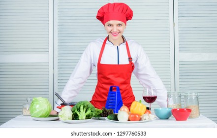 Uniform for professional chef. Lady adorable chef teach culinary arts. Improve culinary skill. Best culinary recipes to try at home. Welcome to my culinary show. Woman pretty chef wear hat and apron.
