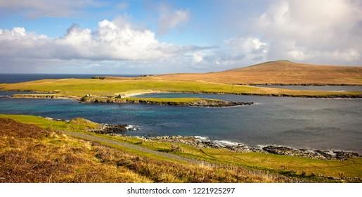 The uninhabited island of Noss, viewed from Bressay, Shetland, Scotland, UK.