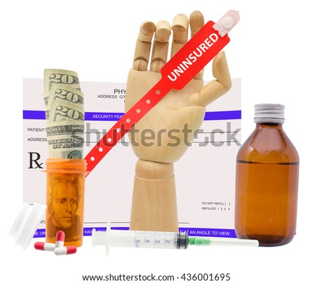 Uninsured Medical Alert Wristband Mannequin Hand Prescription Stock