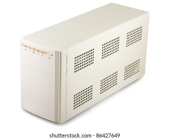 Uninterruptible power supply system isolated on a white background