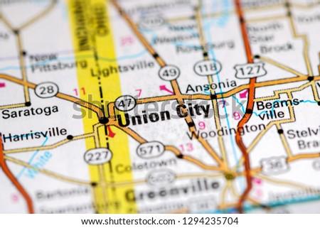Union City Ohio USA On Map Stockfoto (Jetzt bearbeiten) 1294235704 on