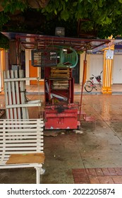 Union de Tula, Mexico, - June 23, 2021: Shoemaker business closed with its chairs and benches unoccupied in the main garden plaza of Union de Tula, Jalisco