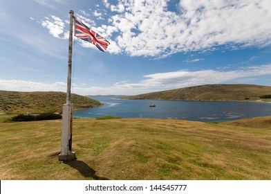 The Union Flag flies over the Falkland Islands demonstrating the island's allegiance to the UK.