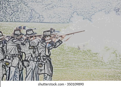 Union infantry skirmishers hold their position during a mock Civil War battle  on Jun 20, 2009 in Port Gamble WA