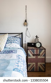 Union jack bedside table and industrial pendant light