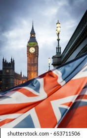 union jack flag and big ben in the background, London, UK