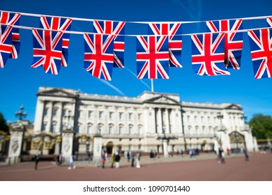 Union Jack flag bunting decorates the Mall in front of Buckingham Palace in celebration of a national event in London, England.