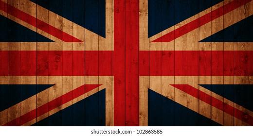 Union Jack flag on wooden panels