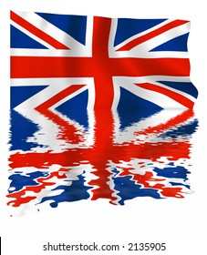 Union Jack flag of the united kingdom with a reflection