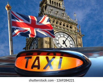 Union jack flagon pole , Big Ben and sign for taxi