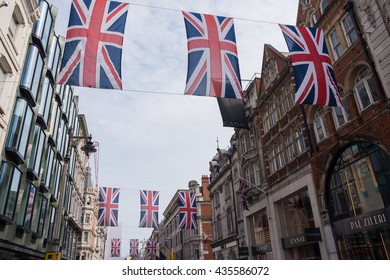 Union Jack Flags 10/6/2016, New Bond Street, London,  marking the 90th birthday of Queen Elizabeth II