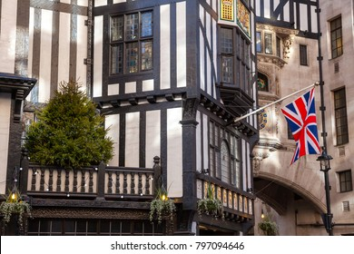 Union Jack on facade of Liberty Of London, department store on Great Marlborough Street in the West End of London UK