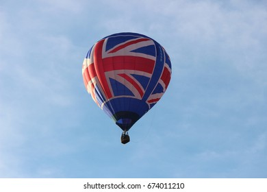 Union Jack UK British Flag Hot Air Balloon In Flight Close Up