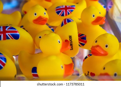 Union Jack yellow rubber ducks on display at a duty free shop in London Heathrow Airport