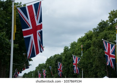 Union Jacks in the streets on London on a festive day. Great Britain.