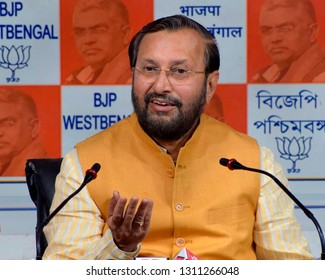 Union Minister of Human Resource Development  and BJP leader Prakash Javadekar inter act with media at Bharatiya Janta Party or BJP West Bengal head quarter on February 04, 2019 in Calcutta, India.