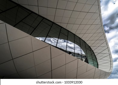 Union Museum, Etihad, Dubai, United Arab Emirate - Jan.4, 2018: Fantastic Pavilion of the Etihad Museum on the Jumeirah Street