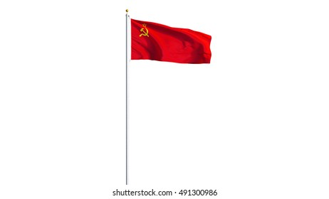 The Union of Soviet Socialist Republics flag waving on white background, long shot, isolated with clipping path mask alpha channel transparency, black white matte