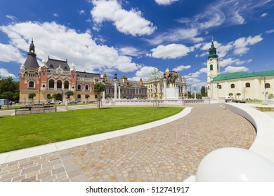 Union square (Piata Unirii) Oradea, Romania, cityscape with beautiful clouds