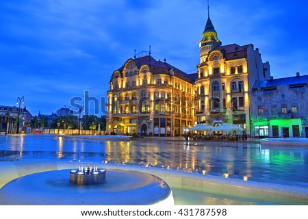 Union square (Piata Unirii) seen at the blue hour in Oradea, Romania