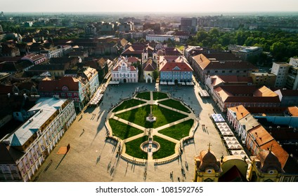 Union Square Timisoara at sunset with beautiful light and shadows - aerial view taken by a professional drone