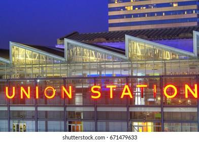 UNION STATION DOWNTOWN KANSAS CITY, MISSOURI - NOV 4, 2016 - Built in 1914 as railroad terminal, 80,000 sq. ft of event space: Planetarium, extreme screen & live theater,railroad exhibit, KC Amtrak.