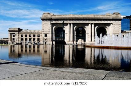 Union Station Front Downtown Kansas City Reflection