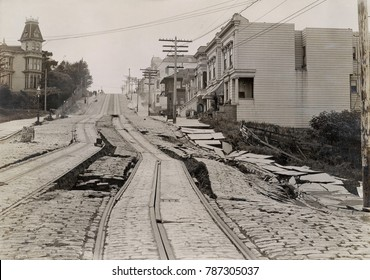 Union Street Car Line after the 1906 San Francisco Earthquake, 1906. The tracks are shifted near Steiner street, looking west. The earth below was land fill over a gully, which was subject to liquefac