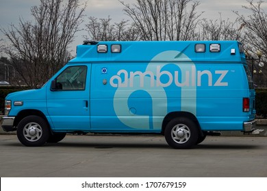 UNIONDALE, NEW YORK - FEBRUARY 16, 2020: Ambulnz ambulance in Uniondale, NY. Ambulnz is a new kind of on demand ambulance services provider