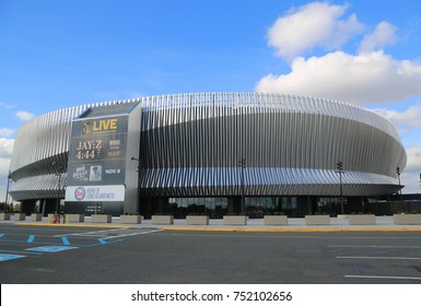 UNIONDALE, NEW YORK - NOVEMBER 9, 2017: The newly renovated Nassau Veterans Memorial Coliseum in Uniondale, NY. It is a multi-purpose indoor arena on Long Island