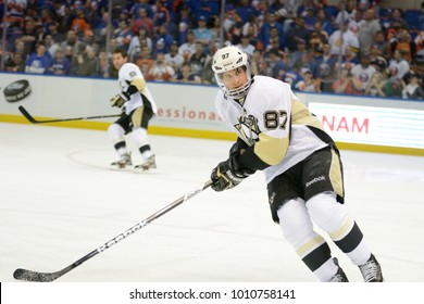 UNIONDALE, NEW YORK, UNITED STATES – May 5, 2013: NHL Hockey: Sidney Crosby, of the Pittsburgh Penguins during warm-ups. Penguins vs. New York Islanders at Nassau Veterans Memorial Coliseum.