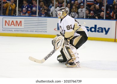 UNIONDALE, NEW YORK, UNITED STATES – May 5, 2013: NHL Hockey: Tomas Vokoun, of the Pittsburgh Penguins during warm-ups. Penguins vs. New York Islanders at Nassau Veterans Memorial Coliseum.