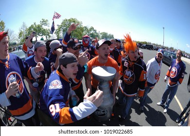 UNIONDALE, NEW YORK, UNITED STATES – May 5, 2013: NHL Hockey: New York Islanders fans tailgating in the parking lot prior to a playoff game against Pittsburgh Penguins at Nassau Coliseum.