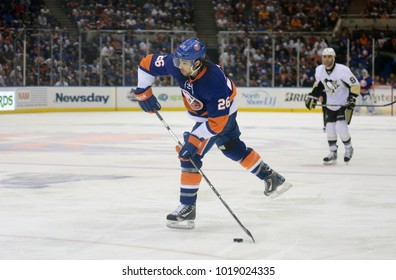 UNIONDALE, NEW YORK, UNITED STATES – May 5, 2013: NHL Hockey: Matt Moulson, of the New York Islanders, during a playoff game between the Islanders and Pittsburgh Penguins at Nassau Coliseum.
