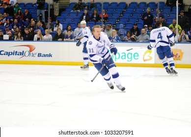 UNIONDALE, NEW YORK, UNITED STATES – April 6, 2013: NHL Hockey: Steven Stamkos, of the Tampa Bay Lightning during warm-ups. Lightning vs. New York Islanders at Nassau Veterans Memorial Coliseum.