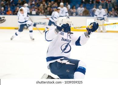 UNIONDALE, NEW YORK, UNITED STATES – April 6, 2013: NHL Hockey: Martin St Louis, of the Tampa Bay Lightning during warm-ups. Lightning vs. New York Islanders at Nassau Veterans Memorial Coliseum.