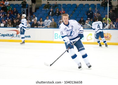 UNIONDALE, NEW YORK, UNITED STATES – April 6, 2013: NHL Hockey: Steven Stamkos and other Tampa Bay Lightning players during warm-ups. Versus New York Islanders at Nassau Veterans Memorial Coliseum.