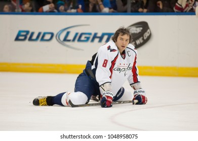 UNIONDALE, NEW YORK, UNITED STATES – March 9, 2013: NHL Hockey: Alex Ovechkin, of the Washington Capitals during warm-ups. Capitals vs. New York Islanders at Nassau Veterans Memorial Coliseum.