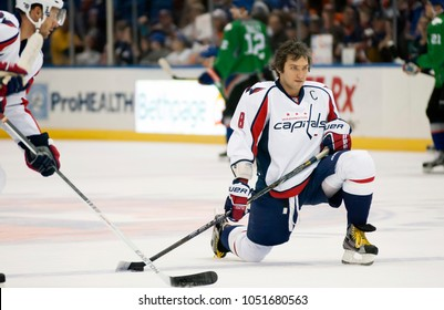 UNIONDALE, NEW YORK, UNITED STATES – March 9, 2013: NHL Hockey: Alex Ovechkin with some Washington Capitals teammates during warm-ups. Versus New York Islanders at Nassau Veterans Memorial Coliseum.