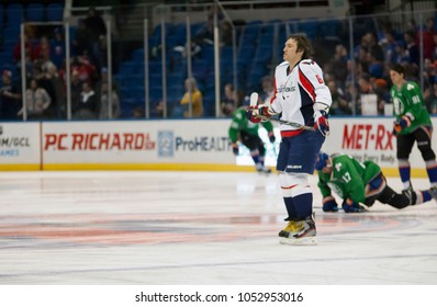 UNIONDALE, NEW YORK, UNITED STATES – March 9, 2013: NHL Hockey: Alex Ovechkin, of the Washington Capitals, during warm-ups. Capitals vs. New York Islanders at Nassau Veterans Memorial Coliseum.