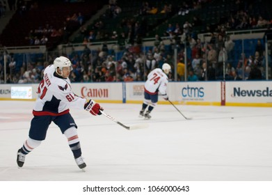 UNIONDALE, NEW YORK, UNITED STATES – March 9, 2013: NHL Hockey: Steve Oleksy, of the Washington Capitals, during warm-ups. Capitals vs. New York Islanders at Nassau Veterans Memorial Coliseum.