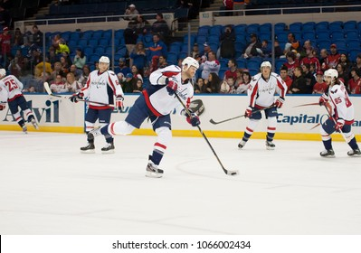 UNIONDALE, NEW YORK, UNITED STATES – March 9, 2013: NHL Hockey: Washington Capitals players during warm-ups before a game against the New York Islanders at Nassau Veterans Memorial Coliseum