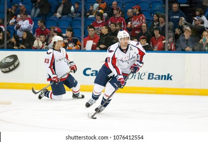 UNIONDALE, NEW YORK, UNITED STATES – March 9, 2013: NHL Hockey: Troy Brouwer with his Washington Capitals teammates during warm-ups prior to a game against New York Islanders at Nassau Coliseum.