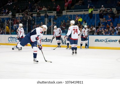 UNIONDALE, NEW YORK, UNITED STATES – March 9, 2013: NHL Hockey: Nicklas Backstrom with his Washington Capitals teammates during warm-ups prior to a game against New York Islanders at Nassau Coliseum.