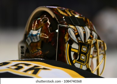 UNIONDALE, NEW YORK, UNITED STATES – Nov. 2, 2013: NHL Hockey: Goalie Tuukka Rask, of the Boston Bruins, during warm-ups. Bruins vs. New York Islanders at Nassau Veterans Memorial Coliseum.
